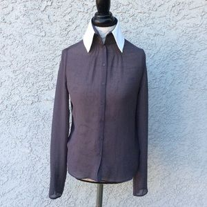 Karl Lagerfeld VTG Button Down Sheer Career Blouse